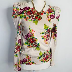 MOTH puff sleeve spring floral sweater size Small